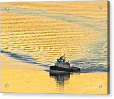 Tugboat At Sunset Acrylic Print