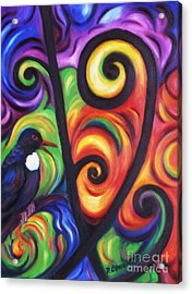 Tui And Koru Acrylic Print by Dianne  Connolly