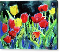 Acrylic Print featuring the painting Tulip Bed At Dark by Kathy Braud