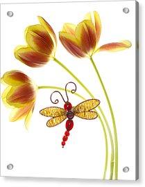 Tulip Dragonfly Acrylic Print by Rebecca Cozart