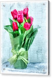 Acrylic Print featuring the digital art Tulip Flowers Watercolor by Edward Fielding
