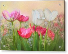Acrylic Print featuring the painting Tulip Garden by Bonnie Willis