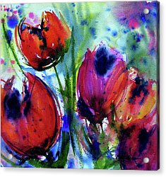 Acrylic Print featuring the painting Tulips 1 by Marti Green