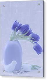 Tulips And Birdies  Acrylic Print