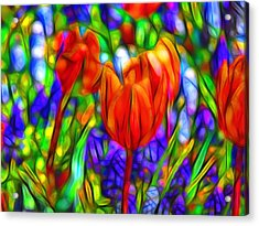 Tulips And Bluebells Acrylic Print by Jean-Marc Lacombe