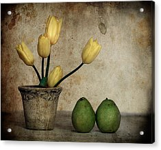 Tulips And Green Pears Acrylic Print by Levin Rodriguez