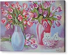 Tulips And Kittens Acrylic Print by Jan Law