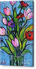 Tulips And Poppies - Impasto Palette Knife Oil Painting Acrylic Print by Mona Edulesco