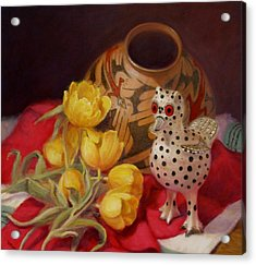 Acrylic Print featuring the painting Tulips And Pottery by Donelli  DiMaria
