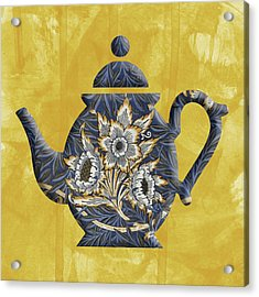 Tulips And Willow Pattern Teapot Acrylic Print