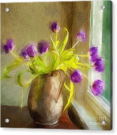 Acrylic Print featuring the mixed media Tulips Arrayed by Terry Rowe