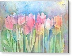 Tulips In A Row Acrylic Print