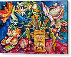 Tulips In Mexican Vase Acrylic Print by Yelena Tylkina