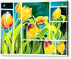 Tulips In Stained Glass Acrylic Print by Janis Grau