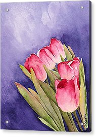 Tulips In The Wind Acrylic Print by Mary Gaines