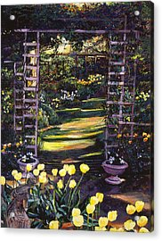 Tulips Of Gold Acrylic Print by David Lloyd Glover