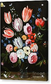 Tulips Roses Peonies Acrylic Print by MotionAge Designs