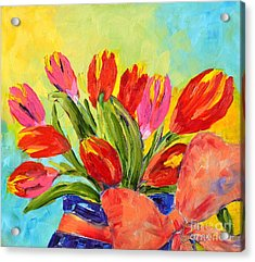 Tulips Tied Up Acrylic Print by Lynda Cookson