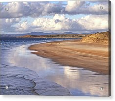 Tullan Strand - Clouds Reflected In The Sea, The Beach And Donegal Hills Acrylic Print