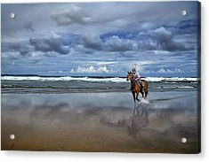 Tullan Strand - Horseriding In The Surf Acrylic Print