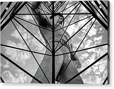 Acrylic Print featuring the photograph Tulsa Driller Art - Black And White Oklahoma Statue Art by Gregory Ballos