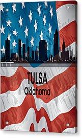 Tulsa Ok American Flag Vertical Acrylic Print