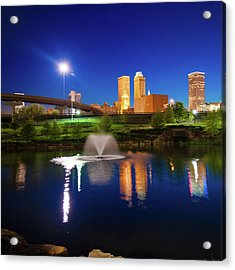 Acrylic Print featuring the photograph Tulsa Oklahoma City Skyline In Midnight Blue by Gregory Ballos