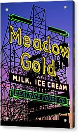 Acrylic Print featuring the photograph Tulsa Oklahoma Meadow Gold Neon - Route 66 Photo Art by Gregory Ballos