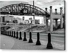 Acrylic Print featuring the photograph Tulsa Oklahoma Route 66 - Cyrus Avery Plaza - Black And White by Gregory Ballos