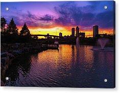 Tulsa Oklahoma Skyline On Fire Acrylic Print