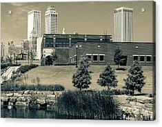 Tulsa Oklahoma Skyline Park View - Sepia Acrylic Print by Gregory Ballos
