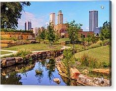 Tulsa Oklahoma Skyline From Centennial Park River Acrylic Print