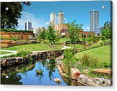 Acrylic Print featuring the photograph Tulsa Oklahomka Skyline View From Central Centennial Park by Gregory Ballos
