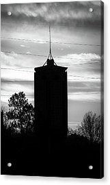 Tulsa Oklahoma University Tower Silhouette - Black And White Acrylic Print