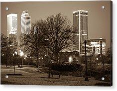 Tulsa Sepia Skyline - Oklahoma Usa Acrylic Print