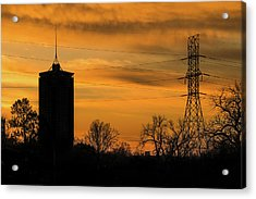 Tulsa Silhouettes And Golden Skies - University Tower Morning  Acrylic Print