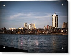Acrylic Print featuring the photograph Tulsa Skyline And Arkansas River - Vignette by Gregory Ballos