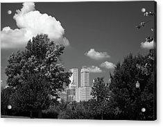 Tulsa Skyline Beyond The Trees Black And White Acrylic Print