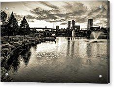 Tulsa Skyline Light Reflections - Monochrome Acrylic Print