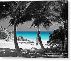 Tulum Mexico Beach Color Splash Black And White Acrylic Print by Shawn O'Brien