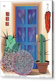 Tumbleweeds At A Blue Door Acrylic Print by Ted Clifton