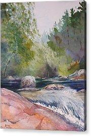 Tumbling Waters  Acrylic Print by Debbie Homewood