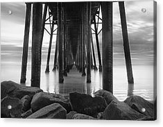 Tunnel Of Light - Black And White Acrylic Print