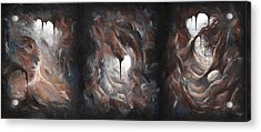 Acrylic Print featuring the painting Tunnel Vision - Triptych by Joe Burgess