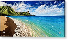 Acrylic Print featuring the painting Tunnels Beach by Chad Berglund