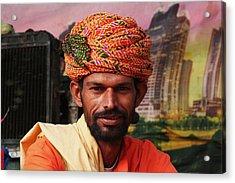 Turbanned Man Acrylic Print by Mohammed Nasir