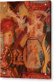 Turbanned Man With Goldfish Bowl Abstract Acrylic Print by Anne-Elizabeth Whiteway