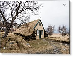 Acrylic Print featuring the photograph Turf Church At Hof In Iceland by Michalakis Ppalis