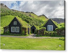 Turf Roof Houses And Shed, Skogar, Iceland Acrylic Print