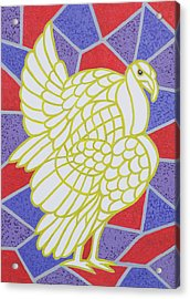 Turkey On Stained Glass Acrylic Print by Pat Scott
